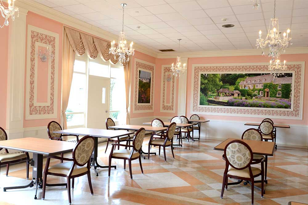 Newly renovated spacious ornate accommodations on display at Carillon Nursing and Rehabilitation Center.
